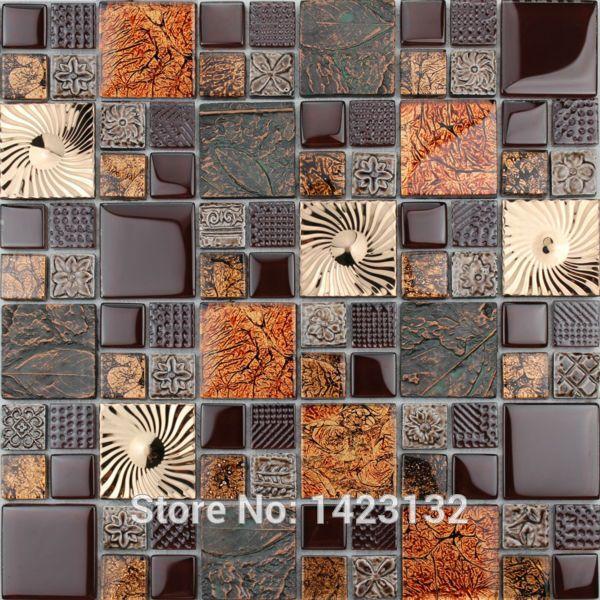 Crystal Glass Tile Backsplash Glass Brown Mosaic Tiles Floor Kitchen Backsplash Tiles T1358 Bathroom Glass Backsplash Glass Mosaic Tiles Glass Tile Backsplash