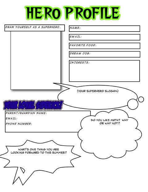 template for hero profiles superhero party ideas superhero