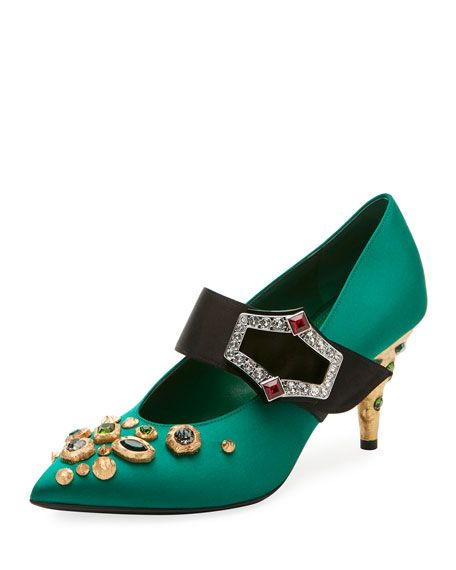 d1e1983ebe PRADA Embellished Satin 75Mm Pump