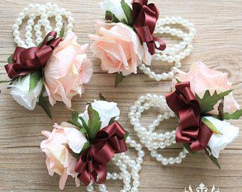 Blush pink rose wrist corsage burgundy bridesmaid corsage pearl blush pink rose wrist corsage burgundy bridesmaid corsage pearl corsage blush pink flower corsage wedding corsage mother corsage mightylinksfo