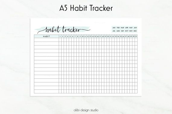 Habit Tracker Printable A5 Planner Inserts Daily Habits Printable Monthly Planner Habit Tracker Printable A5 Planner Inserts A5 Planner Inserts Printable
