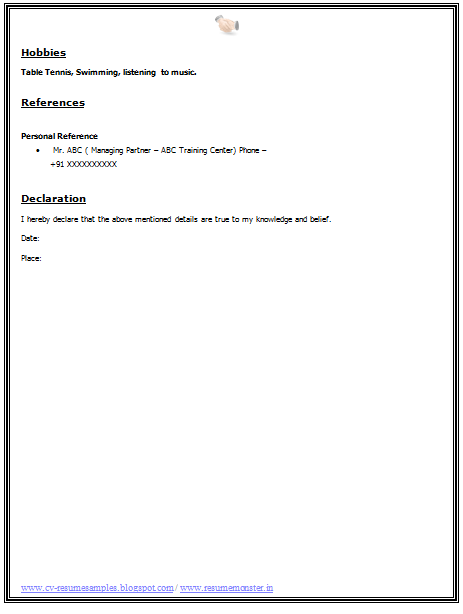 Cv Format For A Bba   Career    Thesis Sentence And