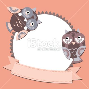 little sweet owl message banners, place for your text. vector Royalty Free Stock Vector Art Illustration