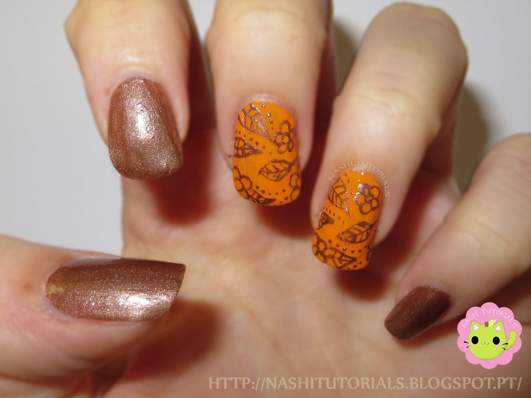 Orange And Brown Flowers Nail Art Tutorial Httpsyoutu
