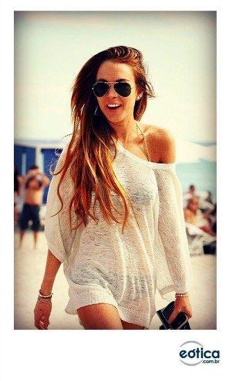 Lindsay Lohan com Ray-Ban Aviator #rayban #LindsayLohan #beach #praia #verao #sunglass #oculosdesol #aviador #aviator