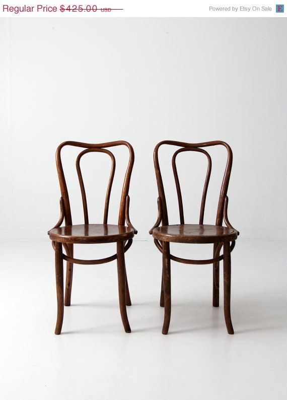 SALE FREE SHIP antique bentwood chairs / thonet style cafe chair pair - SALE FREE SHIP Antique Bentwood Chairs / Thonet Style Cafe Chair