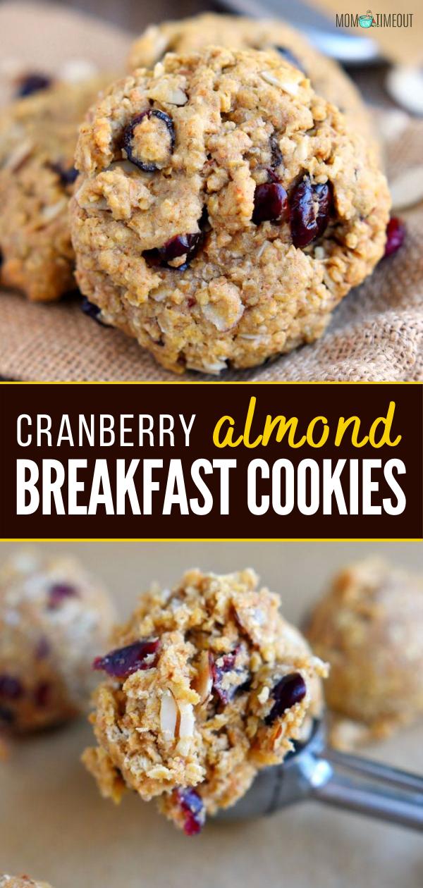 Cranberry Almond Breakfast Cookies In 2020 Almonds Breakfast Cookie Bar Recipes Vegan Cookies Recipes