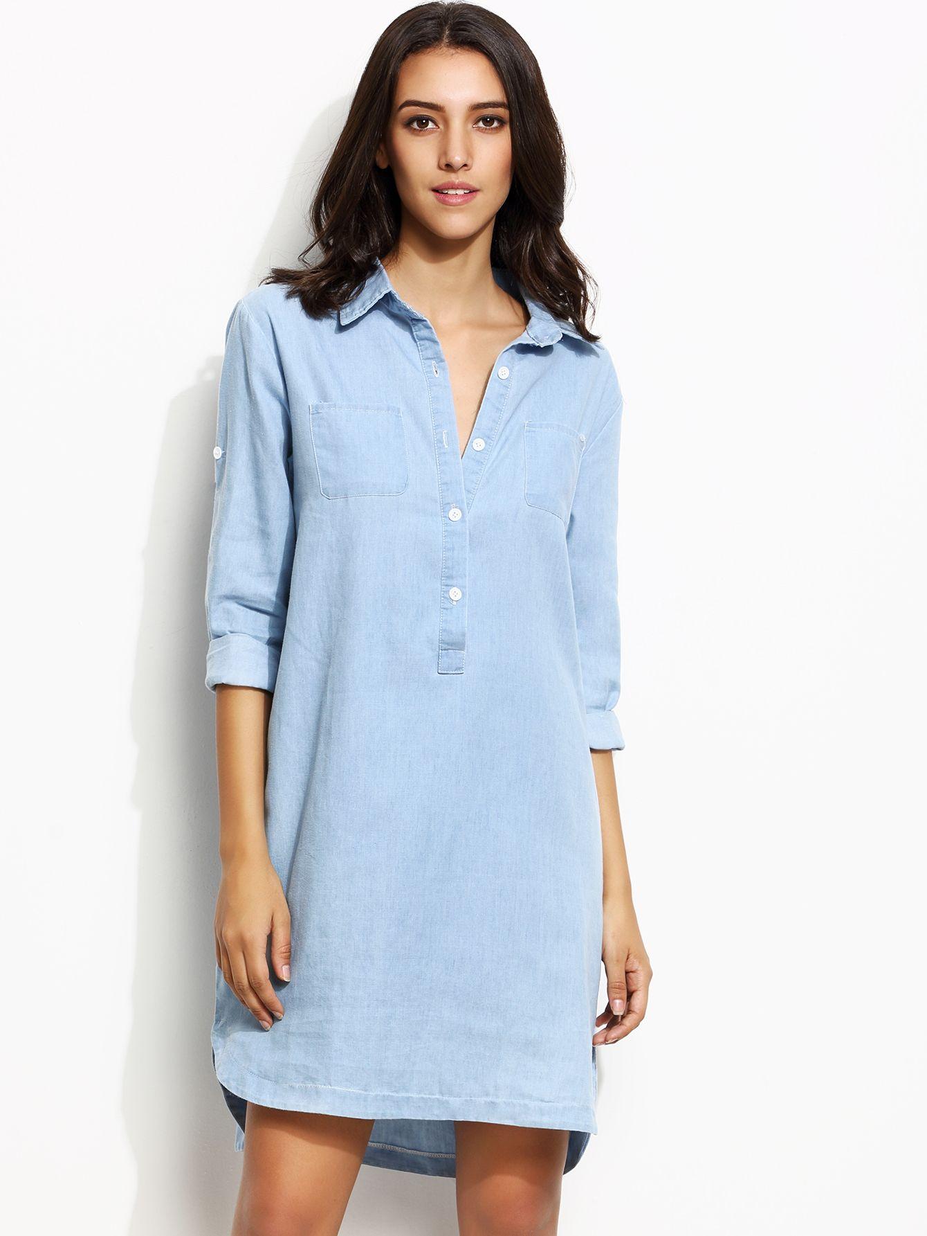 Denim Blusenkleid Saumaufschlag Vorne Kurz Hinten Lang - blau