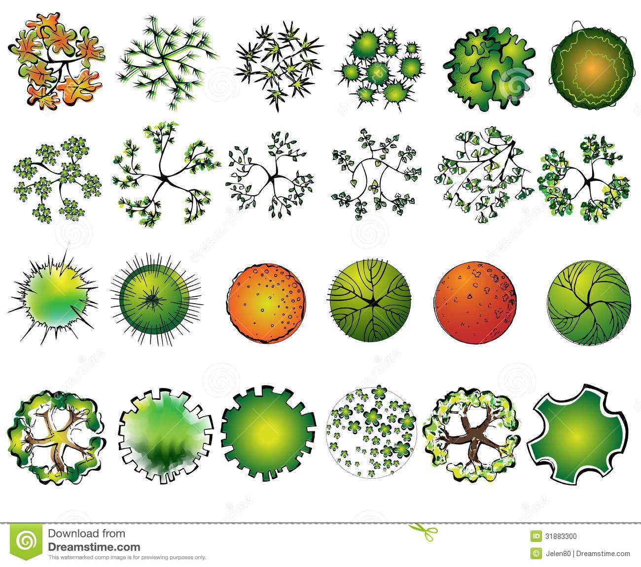Illustration About A Set Of Colored Treetop Symbols For Architectural Or Landscape De Landscape Design Drawings Landscape Design Landscape Architecture Design