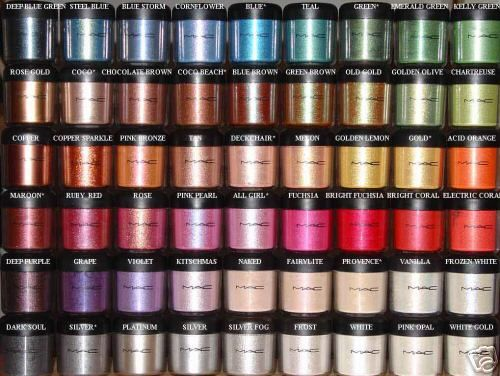 MAC pigments w/ colors labeled. I'm so annoyed they made their jars smaller and still charge the same.