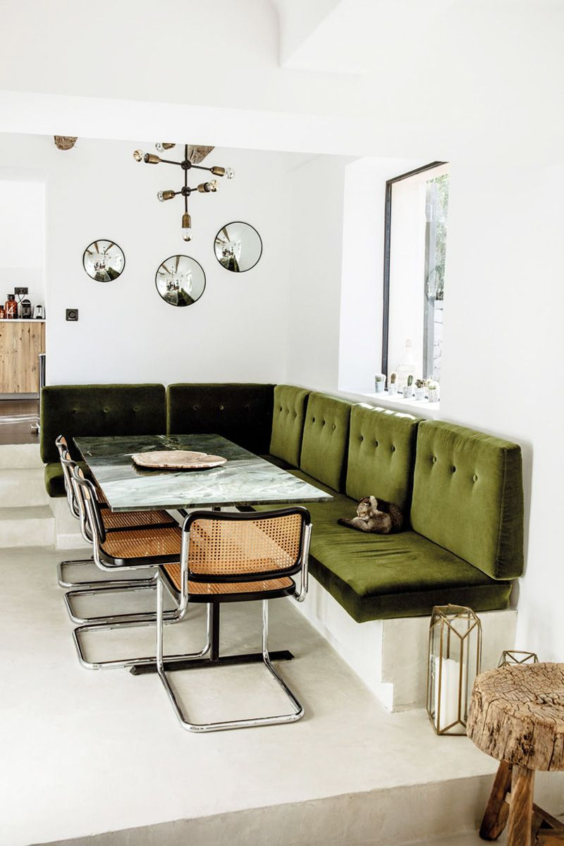 Green Velvet Dining Banquette In A Modern Area Via Thouswellblog