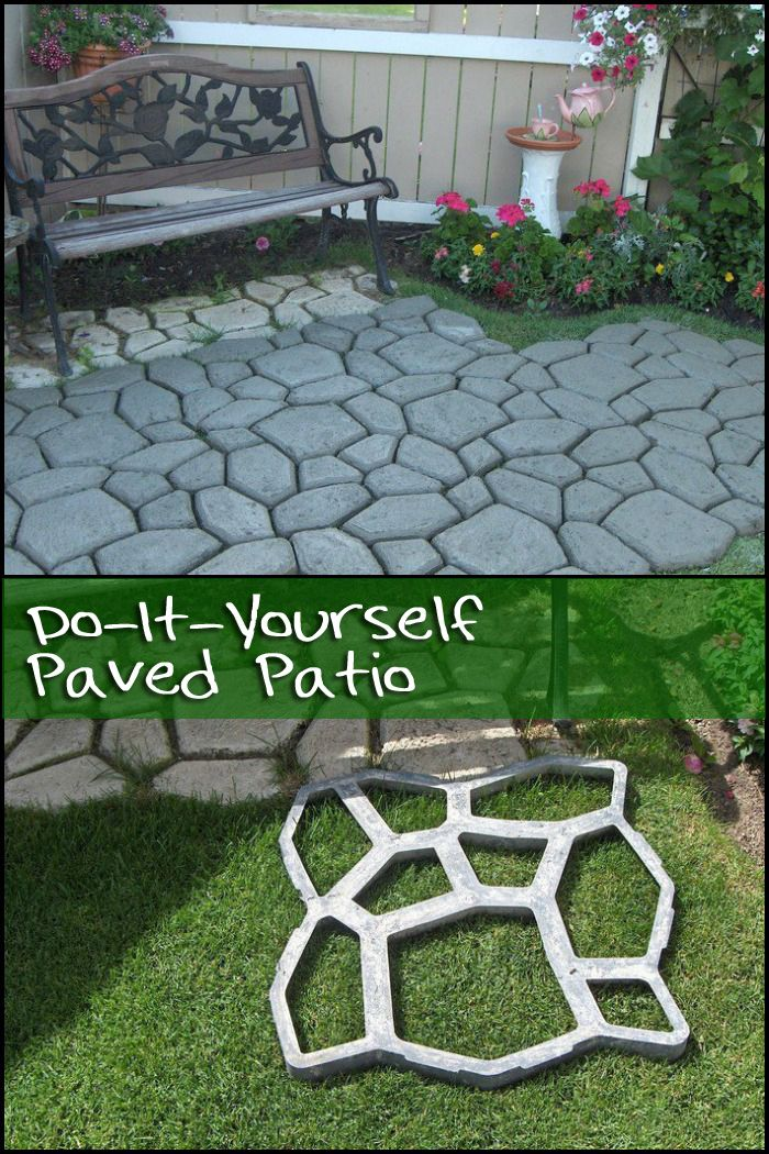 diy paved patio backyard stenciling and concrete