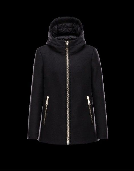 Womens Moncler ARBU Fixed Hood Turtleneck Black Overcoats Wool Flannel