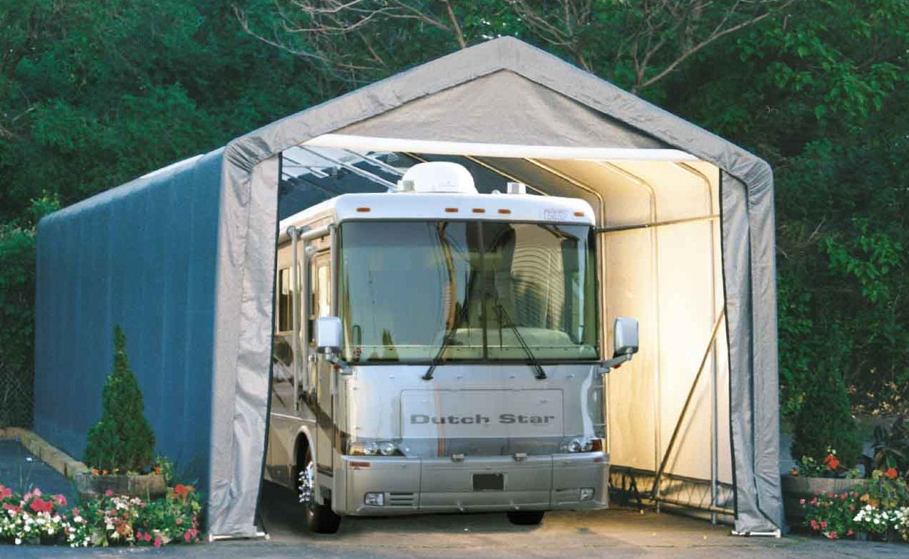 Shelter logic portable rv garage shelters sizes from 13 for Garage motorhome