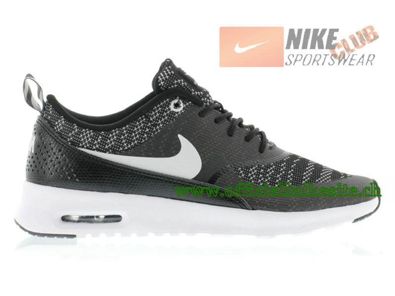 Nike Air Max Thea Jacquard GS Chaussures de Running Pour Femme Noir/Blanc  718646-