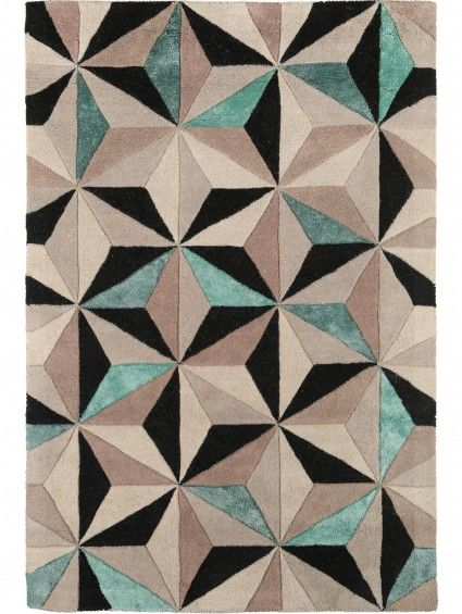 Sternen Mosaic Auf Dem Benuta Wollteppich Triangles Beige/Türkis
