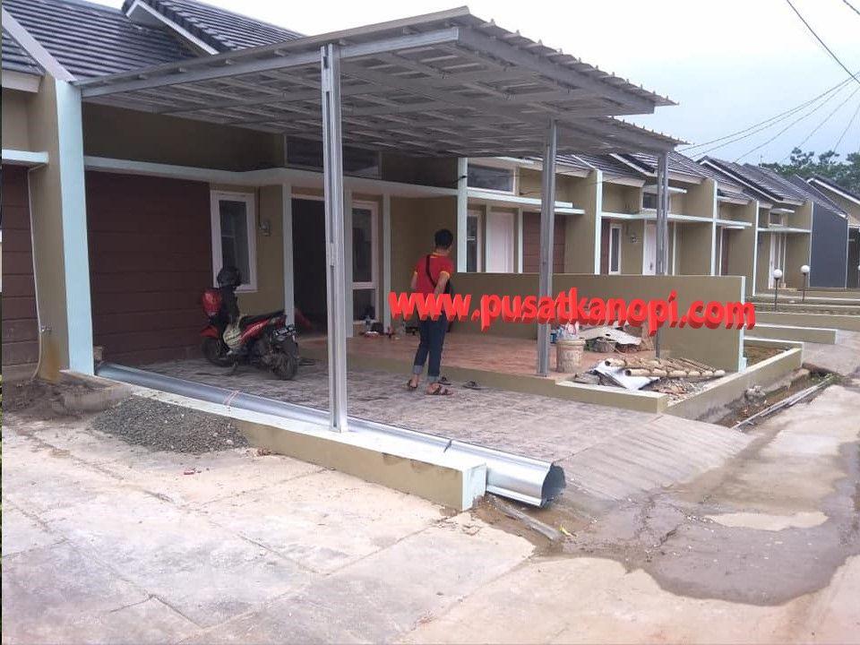 canopy baja ringan depok pemasangan kanopi minimalis atap spandek di sawangan