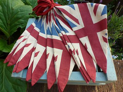 Vintage British Union Jack Textile Flag Cloth Fabric Bunting Retro Banner Uk 5m In Collectables Flags Country Flags Fabric Bunting Union Jack Vintage Bunting
