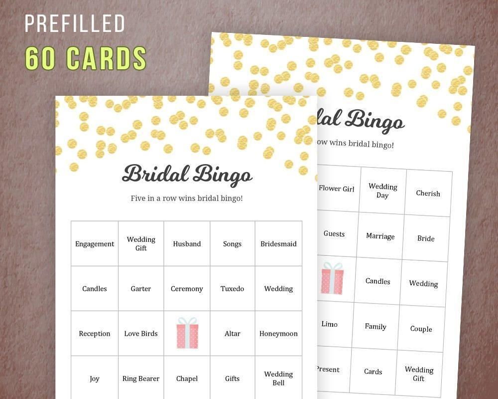Bridal Shower Activity Party Game Bridal Bingo Cards    Bridal Shower Game Bachelorette Party Game  Champagne Pink