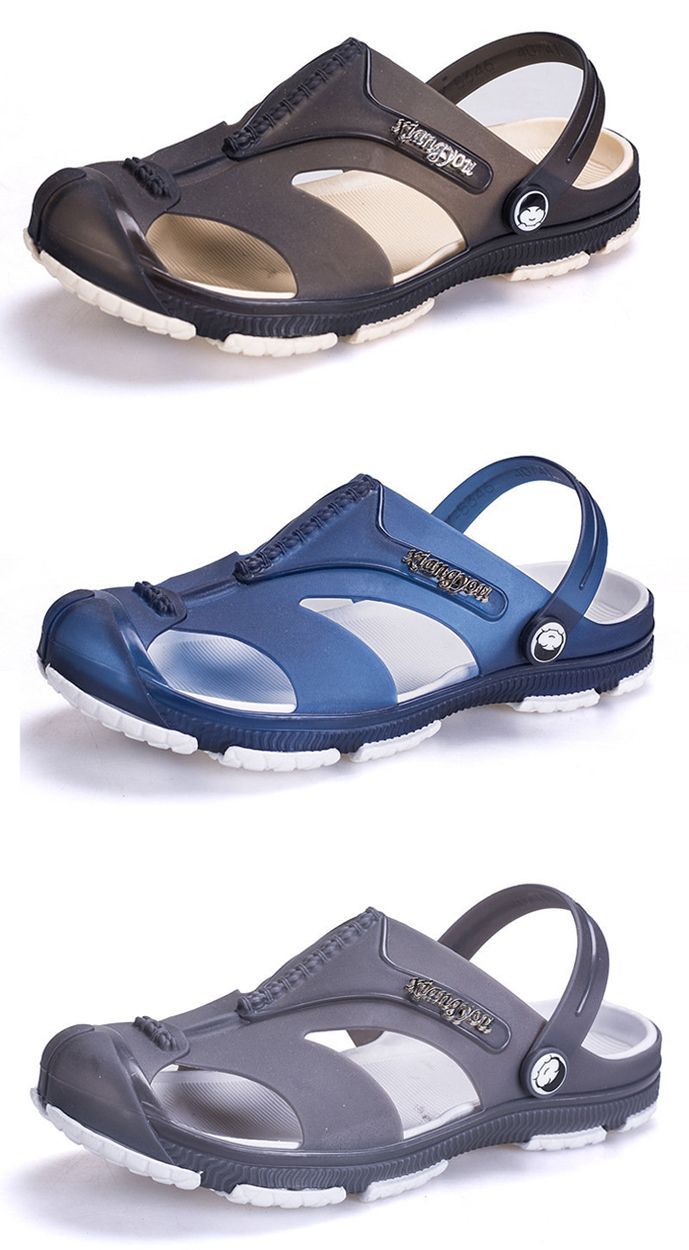 18f8198ac7e Men Anti-collision Toe Hollow Out Breathable Slip On Casual Beach Shoes