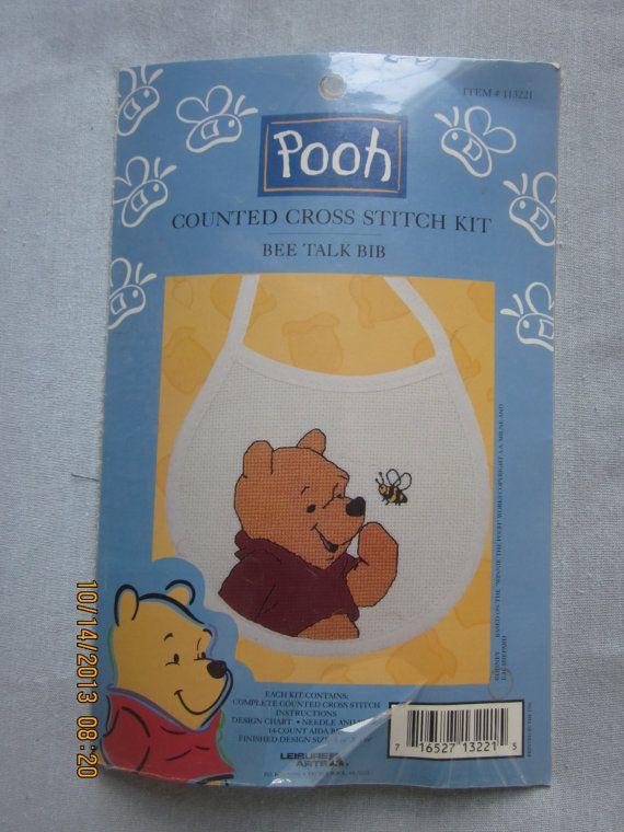 Pooh Counted Cross Stitch Kit - Bee Talk Bib #113221 - NEW by WhimseysByAnne, $8.00