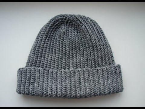be47b1a9 Вязаная шапка крючком резинкой. Шапка бини - YouTube   Crochet ...