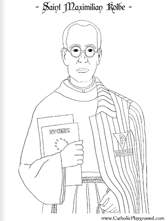a coloring page for august 14th saint maximilian kolbe catholic playground - Free Playground Coloring Pages