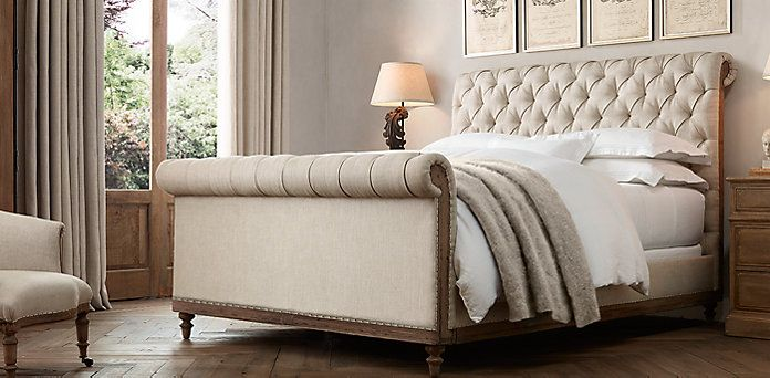 Deconstructed Chesterfield Fabric Bed | Restoration Hardware | bed ...