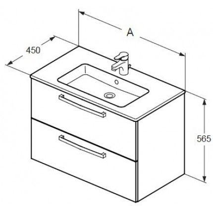 Set mobilier suspendat Ideal Standard Tempo 60cm, cu lavoar, dulap