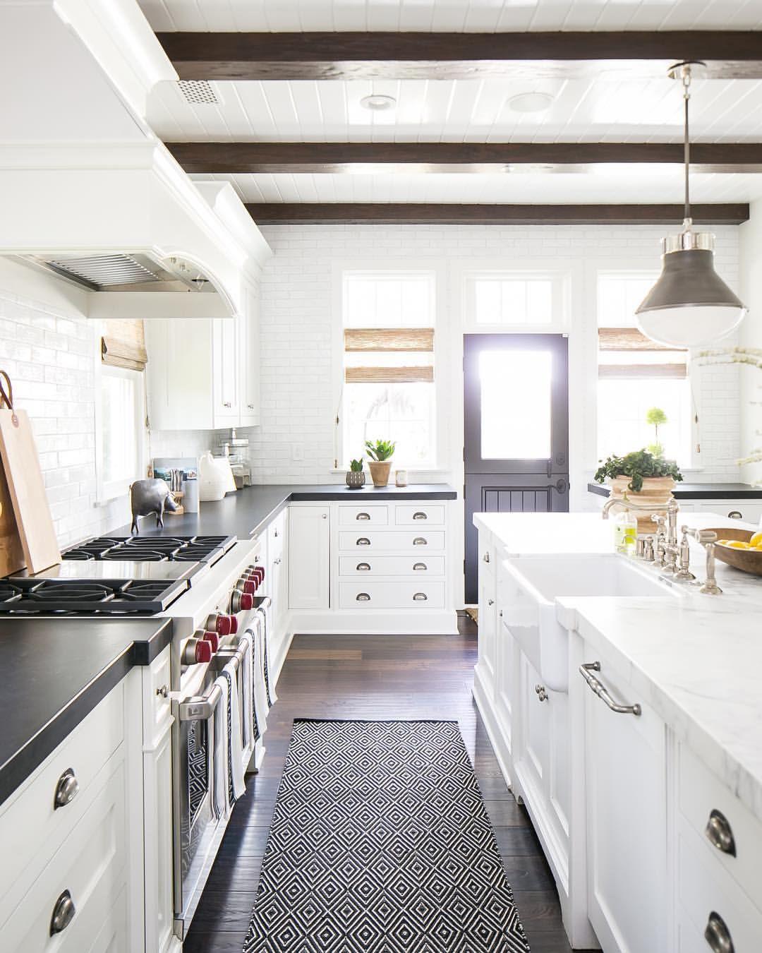 White kitchen cabinets mixed countertops | Kitchen Design Ideas ...