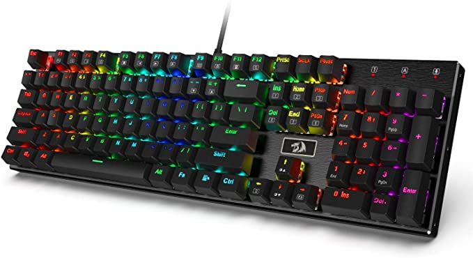 Amazon Com Redragon K556 Rgb Led Backlit Wired Mechanical Gaming Keyboard Aluminum Base 104 Standard Keys Computers In 2020 Rgb Led Keyboards Computer Accessories