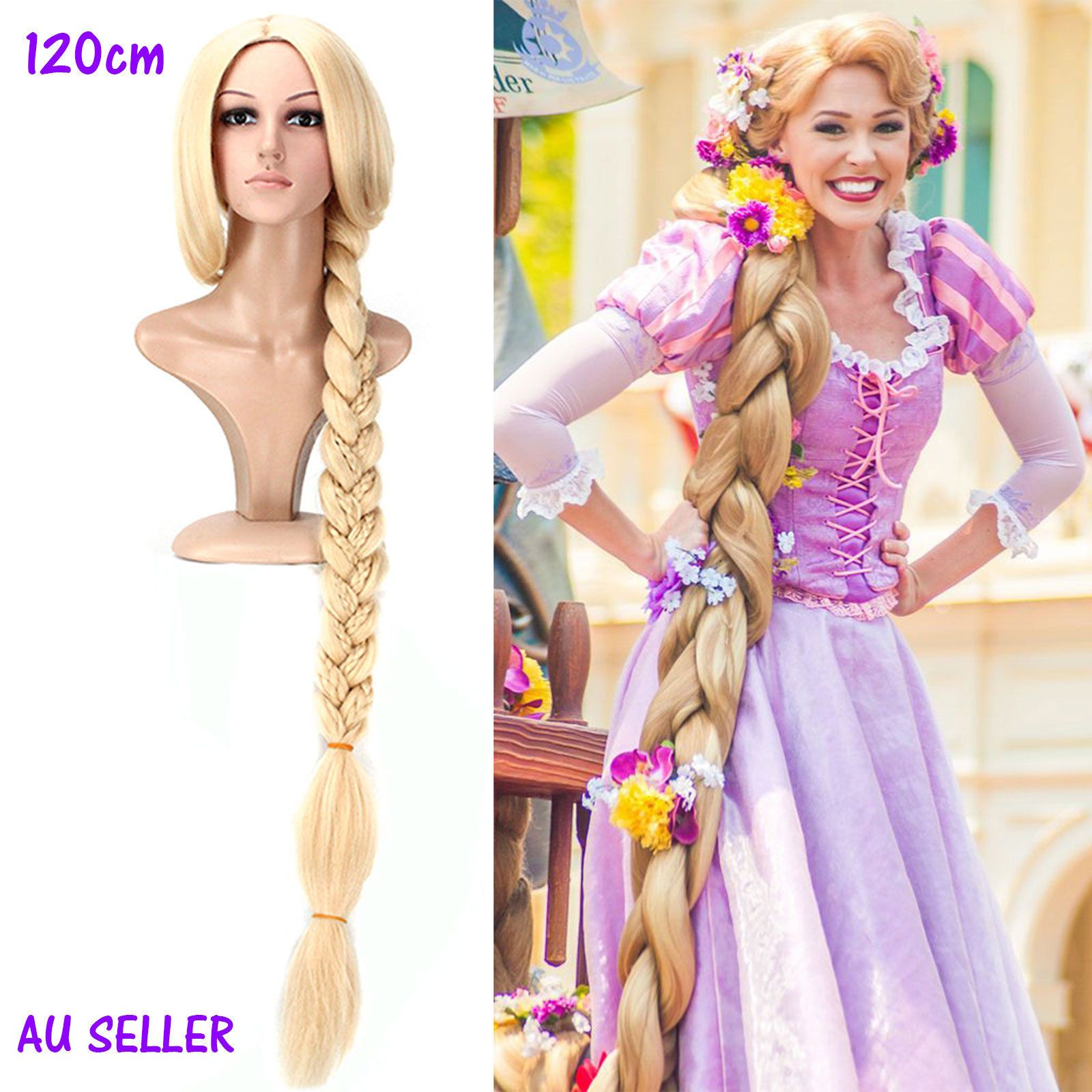 120cm Gold Hair Wig Movie Tangled Princess Rapunzel ...