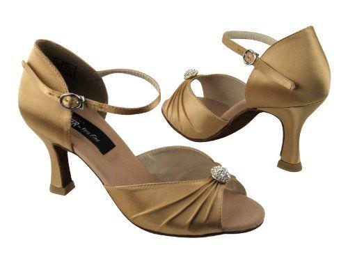 "Ladies Women Ballroom Dance Shoes for Latin Salsa Tango CD2178 Tan Satin 3"""