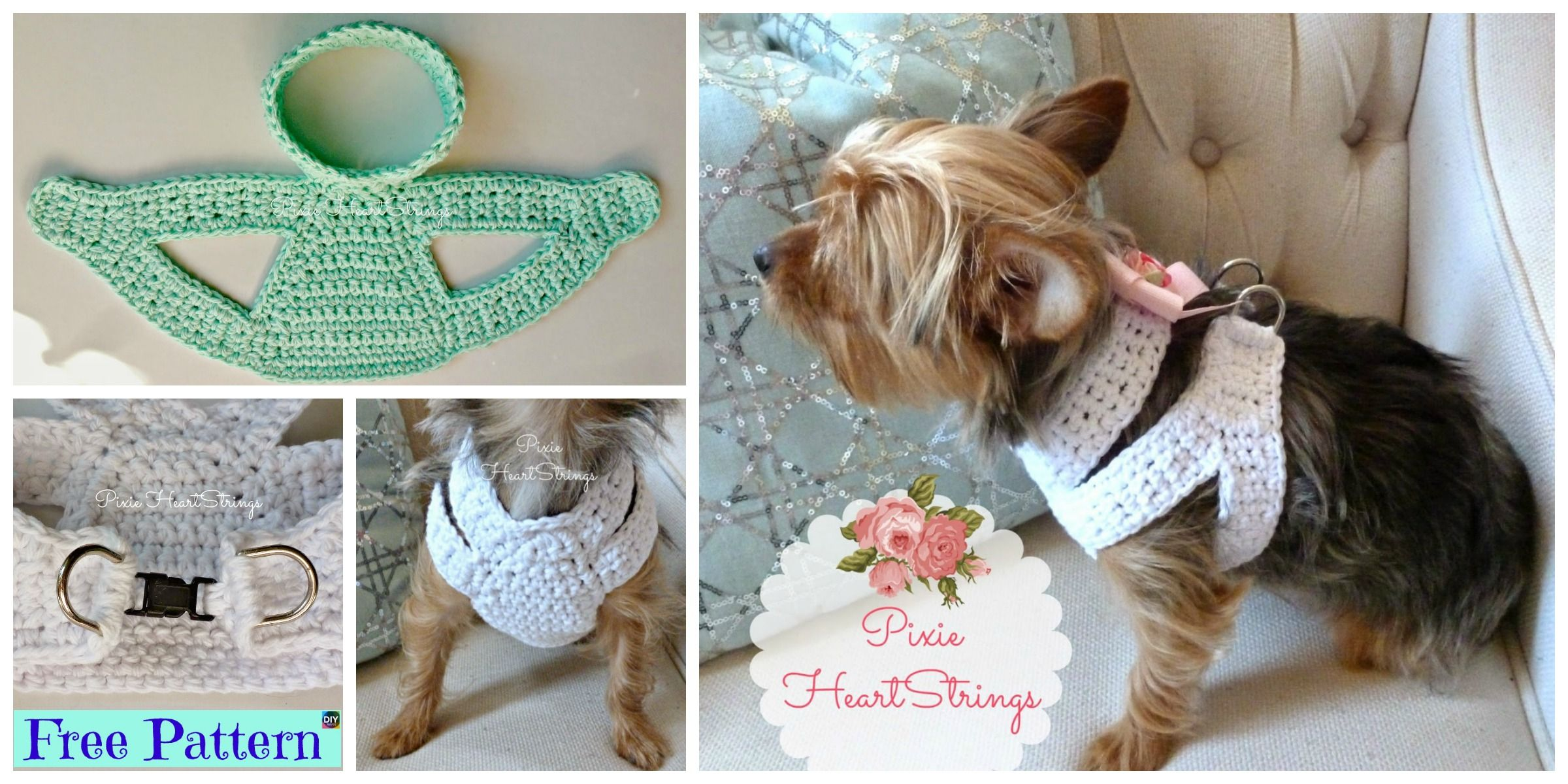 Crocheted Dog Harness Free Pattern Crochet Butterfly Free