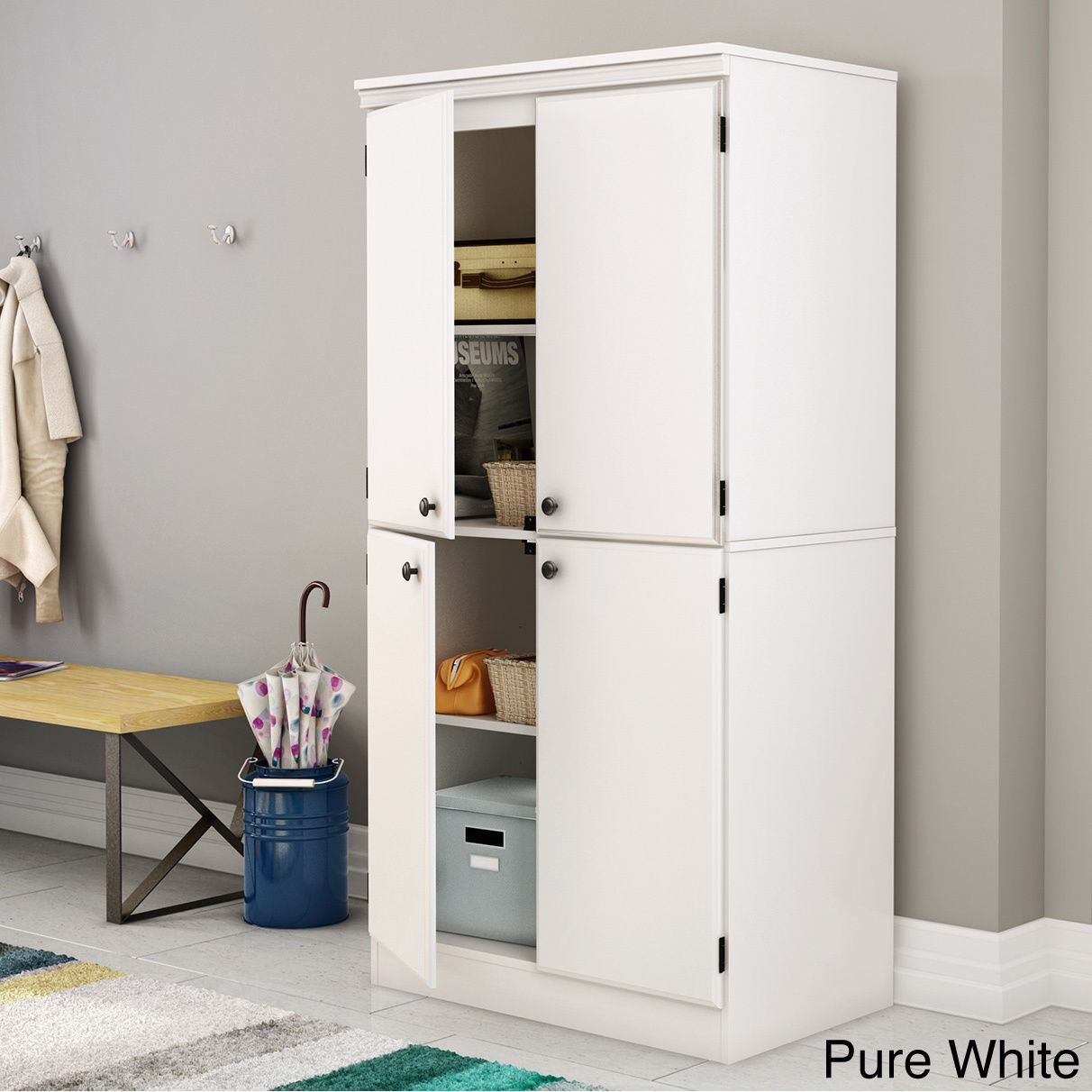 South Shore Morgan Storage Cabinet 4 Door Door Storage Storage Storage Cabinets
