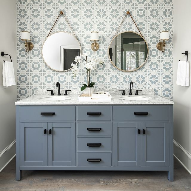 Blue Tile Accent Wall And Gray Vanity: Bathroom Tile Accent Wall Bathroom Tile Accent Wall Behind