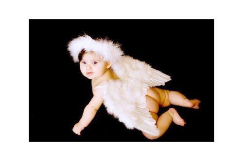FashionWings (TM) White Feather Angel Wings for 6-18 month Baby, w - 18 month halloween costume ideas