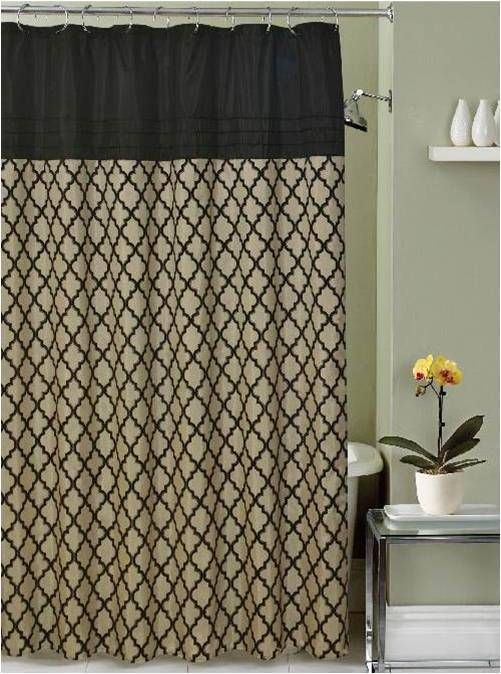 Lancaster Moroccan Black Beige Taupe Fabric Shower Curtain With Hooks