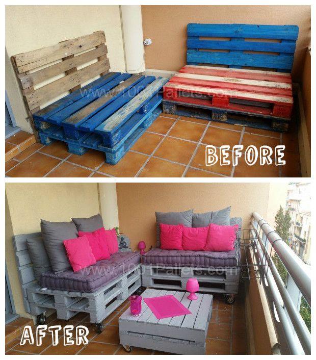 Make A Balcony Pallet Lounge Under 100 Balcony 400 x 300