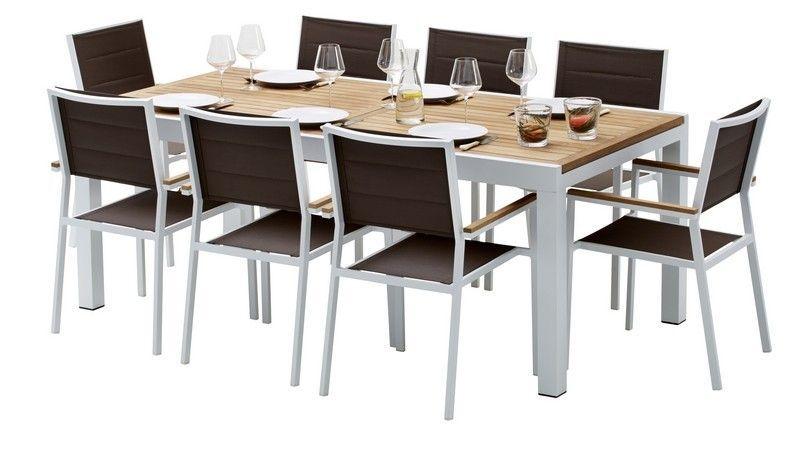 salon de jardin whitestar blanc/gris perle table 8/12 pls+ 8 fts +