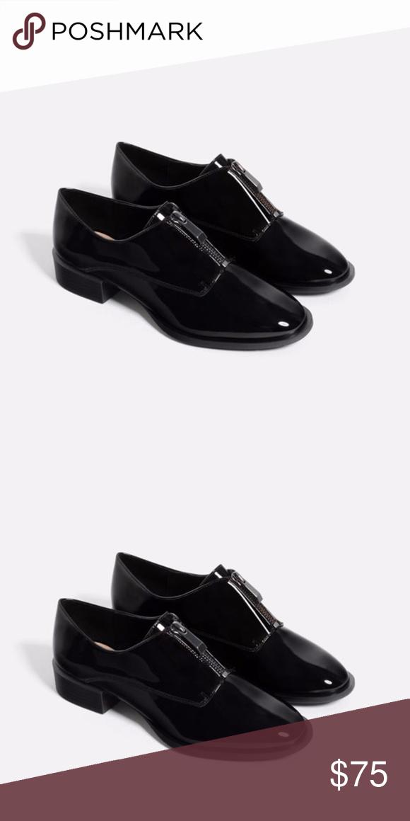 9aa3596e964 black leather ZIPPED BLUCHERS shiny finish oxford NWT ZARA shiny sleek  finish black leather ZIPPED BLUCHERS color  black size  euro 41 Zara flat black  shoes ...