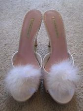 c3839a4ace53 New VICTORIA S SECRET Sexy White Marabou Feather Pom Bedroom Slippers Heels