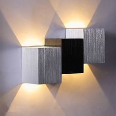 Lixada 2W 85 265V AC Applique Murale Moderne En Forme De Carré En Aluminium LED  éclairage Du0027intérieur LED Intérieur Chambre Cuisine Hôtel Lampe Salle à ...