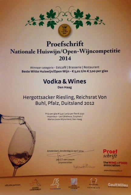 Nationale winnaar huiswijn competitie proefschrift Hergottsacker Riesling Reichsrat von Buhl :)