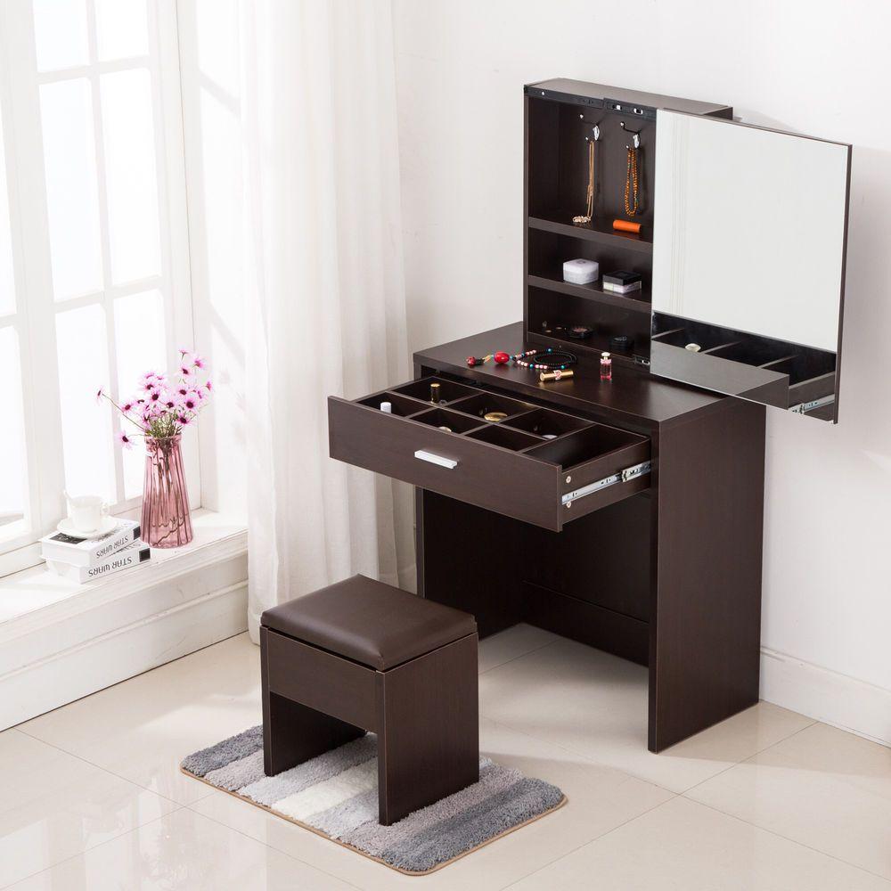 Vanity dressing desk makeup table with mirror cabinet u drawer