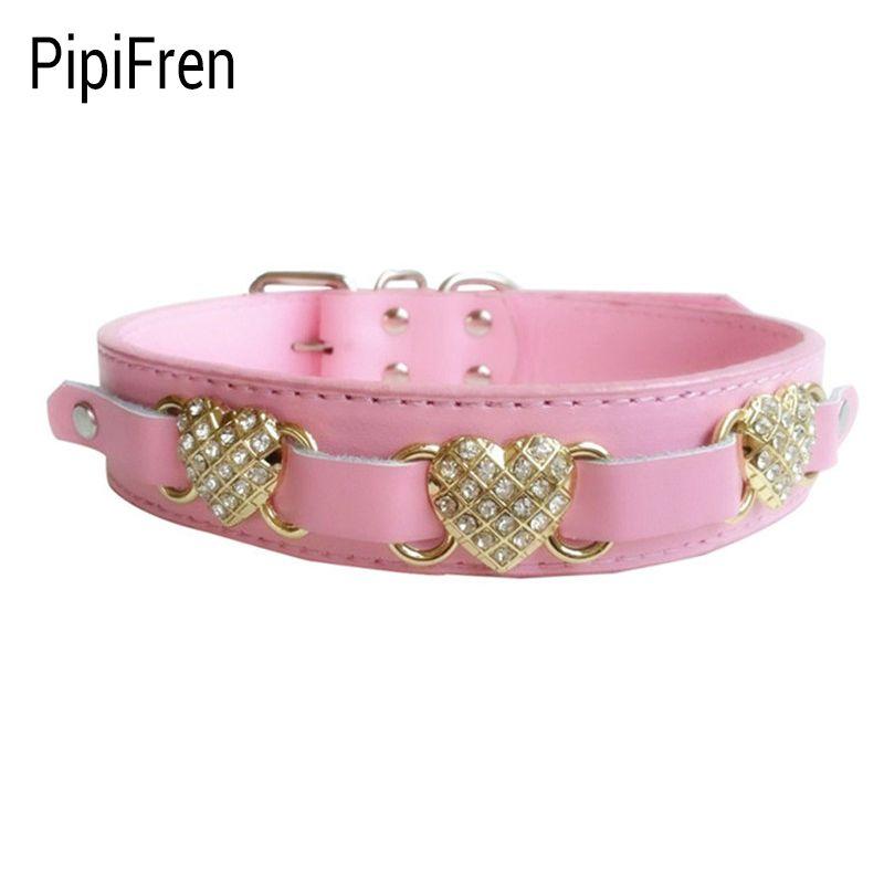 PipiFren Big Dogs Collars Rhinestone Supplies Heart Accessories For Large Dog Necklace Pet Collars Shop dieren benodigheden hond
