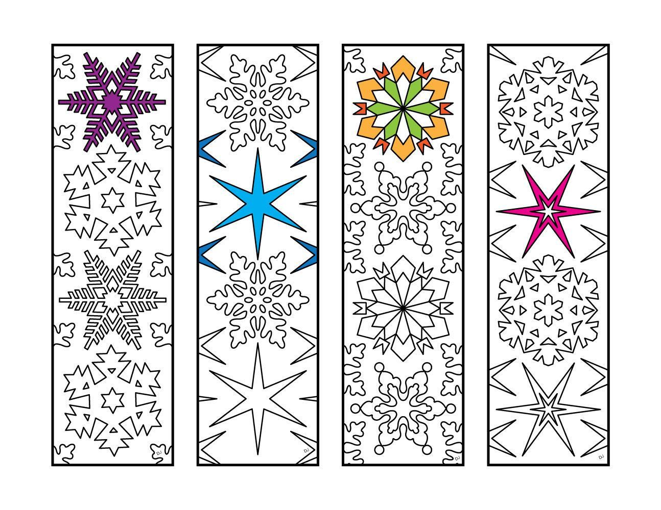 Snowflakes Bookmarks Pdf Zentangle Coloring Page Coloring