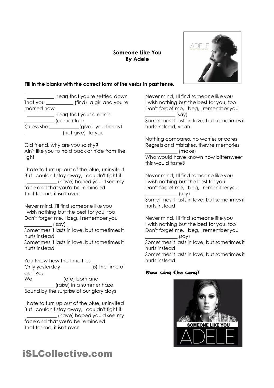 Simple Past Tense Song Someone Like You Adele Exercícios De Inglês Atividades Ensino Médio Ensino De Inglês