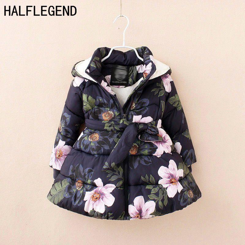iikids/®Girls Warmer Winter Jacket Thick Warm White Duck Down Coat Long Puffer Snowsuit Hooded Floral Outwear Outfit Parka Zipper Closure
