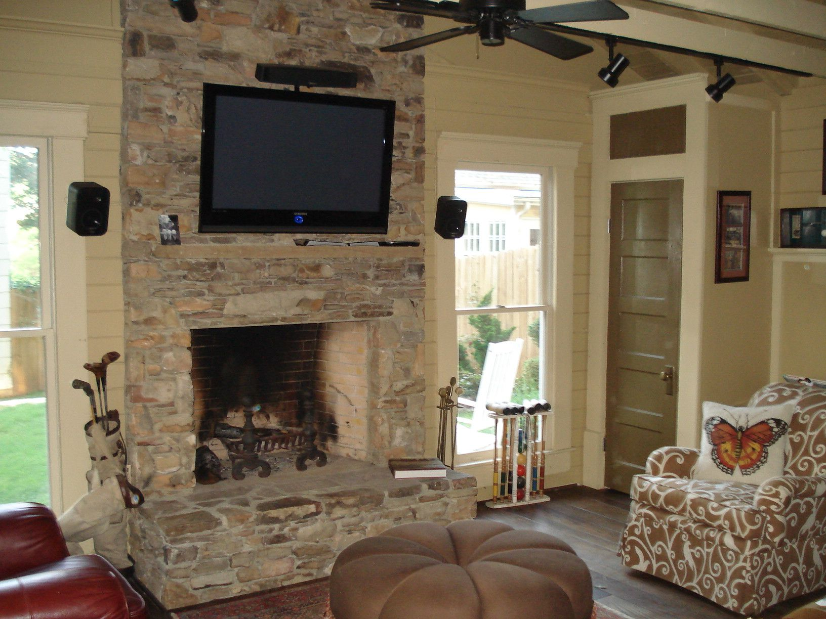 Architecture Stack Stone Wall Fireplace With Television